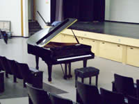 grand piano in auditorium